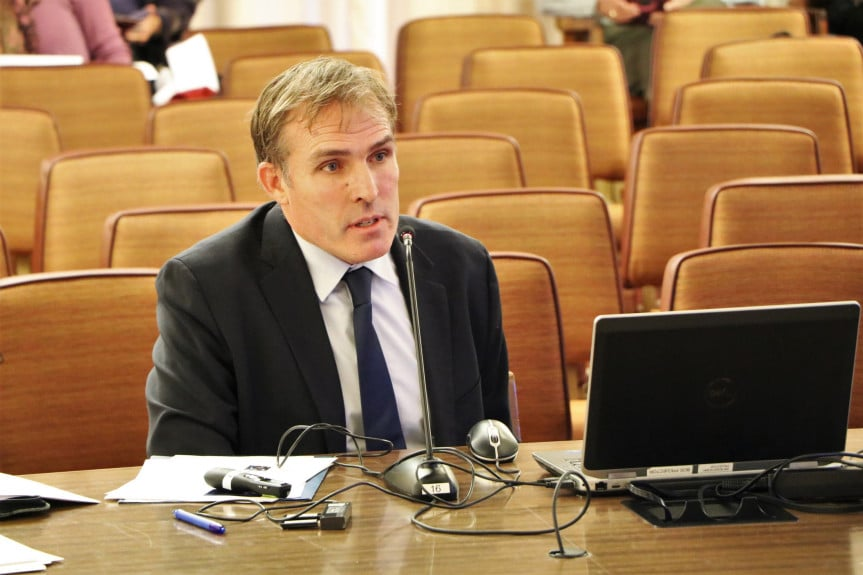 Dr. Matt Willis, Marin County Public Health Officer, speaks to the county supervisors during a hearing to consider a ban on flavored tobacco Tuesday, Oct. 30, 2018. (County of Marin photo)