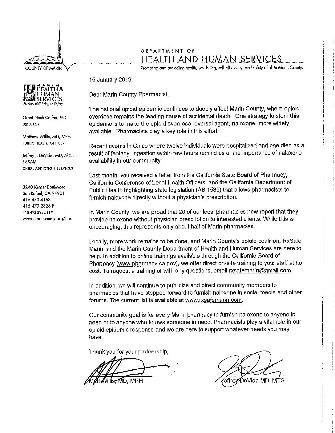County Letter Sent to Encourage Every Pharmacy to Furnish Naloxone